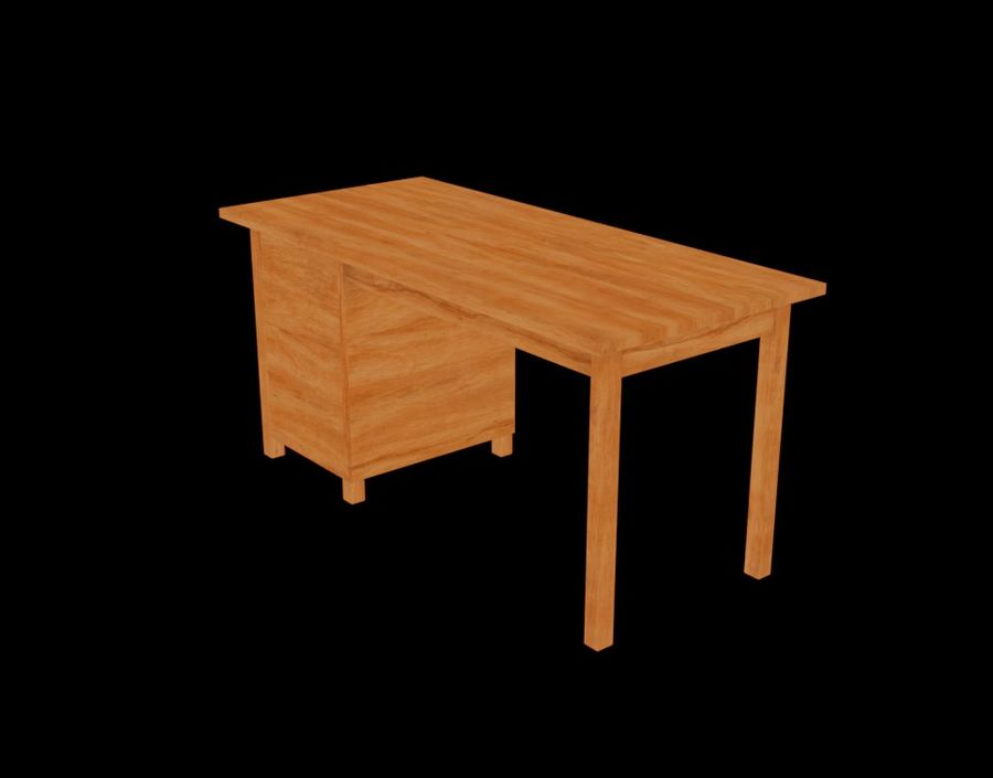 Wooden Desk royalty-free 3d model - Preview no. 22