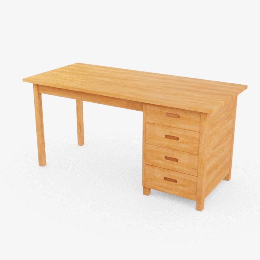 Wooden Desk royalty-free 3d model - Preview no. 1
