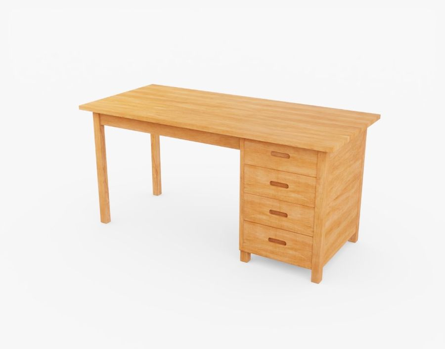 Wooden Desk royalty-free 3d model - Preview no. 11