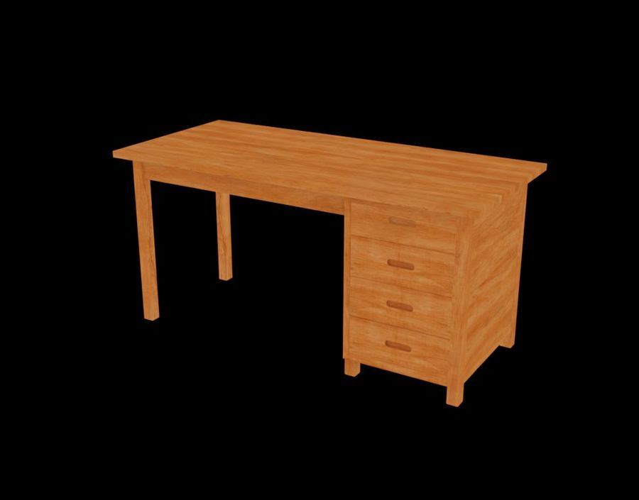 Wooden Desk royalty-free 3d model - Preview no. 21