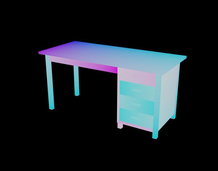 Wooden Desk royalty-free 3d model - Preview no. 23