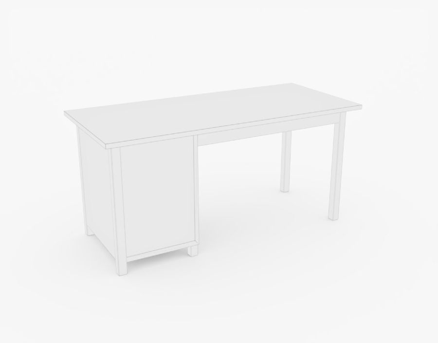 Wooden Desk royalty-free 3d model - Preview no. 14