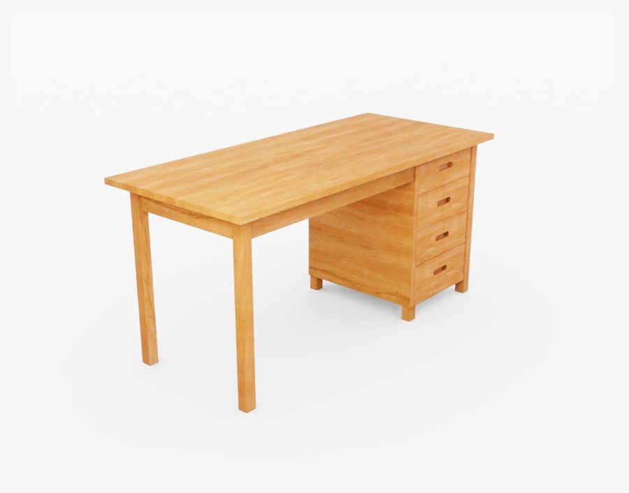 Wooden Desk royalty-free 3d model - Preview no. 9