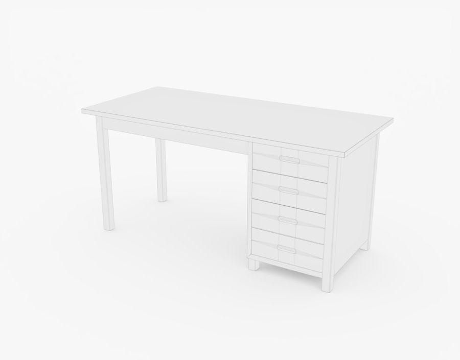 Wooden Desk royalty-free 3d model - Preview no. 20
