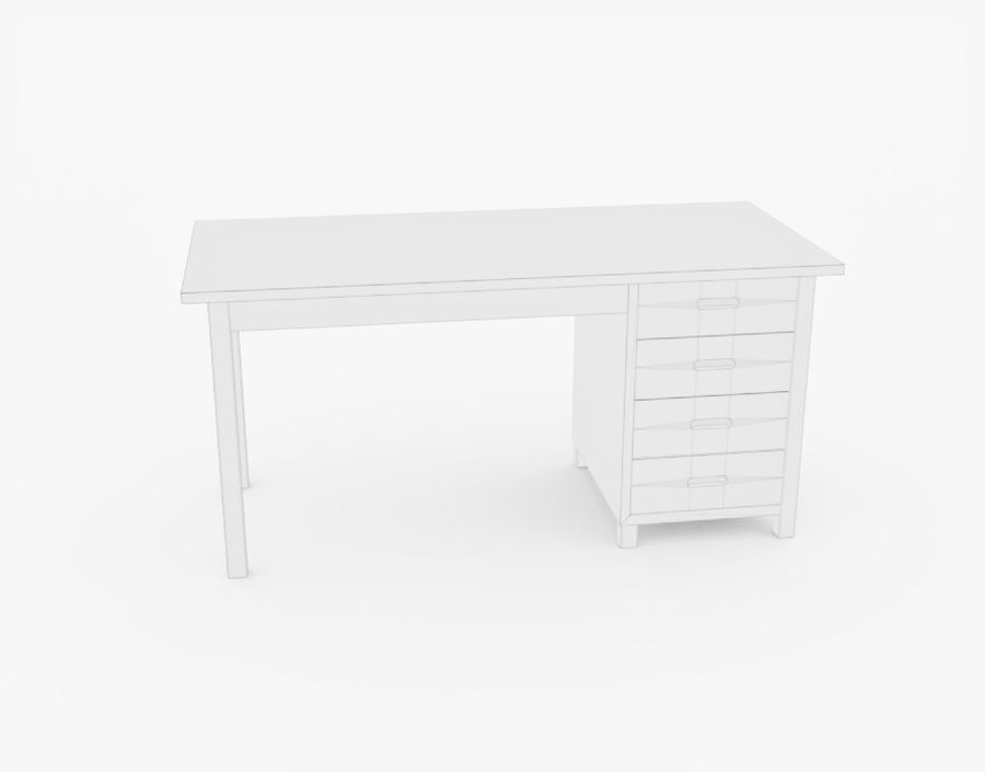 Wooden Desk royalty-free 3d model - Preview no. 19