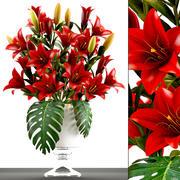 赤い花の花束 3d model