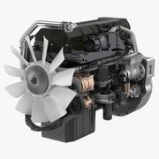 Дизельный двигатель с турбонаддувом для полуприцепов 3d model