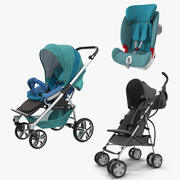 Baby Carriages and Car Seat Collection 3d model