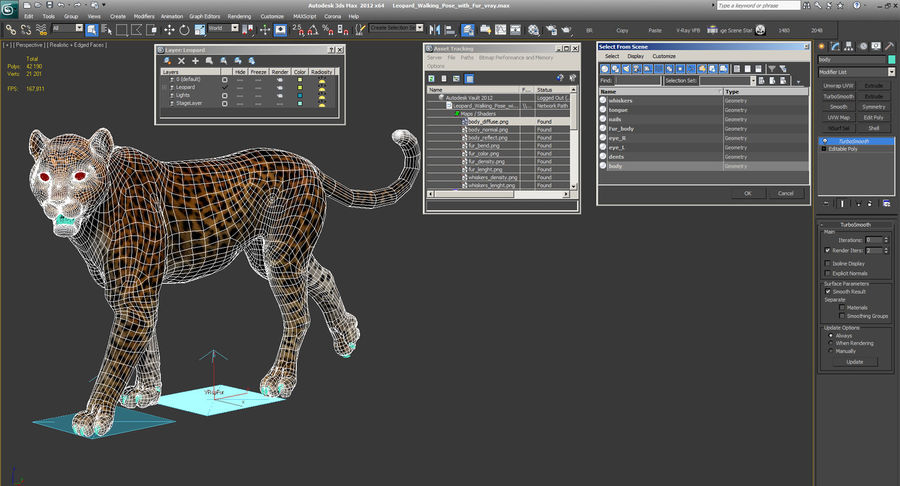 Leopard Walking Pose with Fur royalty-free 3d model - Preview no. 15