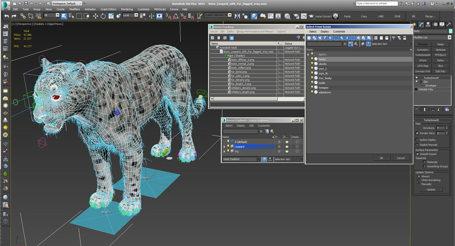 Snow Leopard with Fur Rigged royalty-free 3d model - Preview no. 26