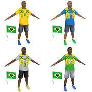 Soccer Crowd BRAZIL 3d model