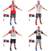 Soccer Crowd Serbia 3d model