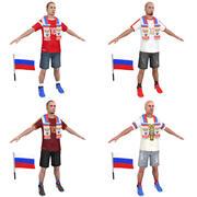 Multidão de futebol na Rússia 3d model