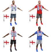 Soccer Crowd England 3d model