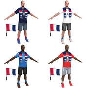 Soccer Crowd France 3d model