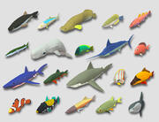 Fish Cartoon Collection Part 01 Animerad - Spelklar 3d model