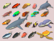 Fish Cartoon Collection Part 02 Animerad - Spelfärdig 3d model