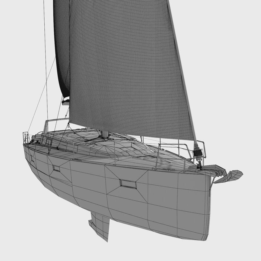 Yelkenli Beneteau Sense 50 yat royalty-free 3d model - Preview no. 13