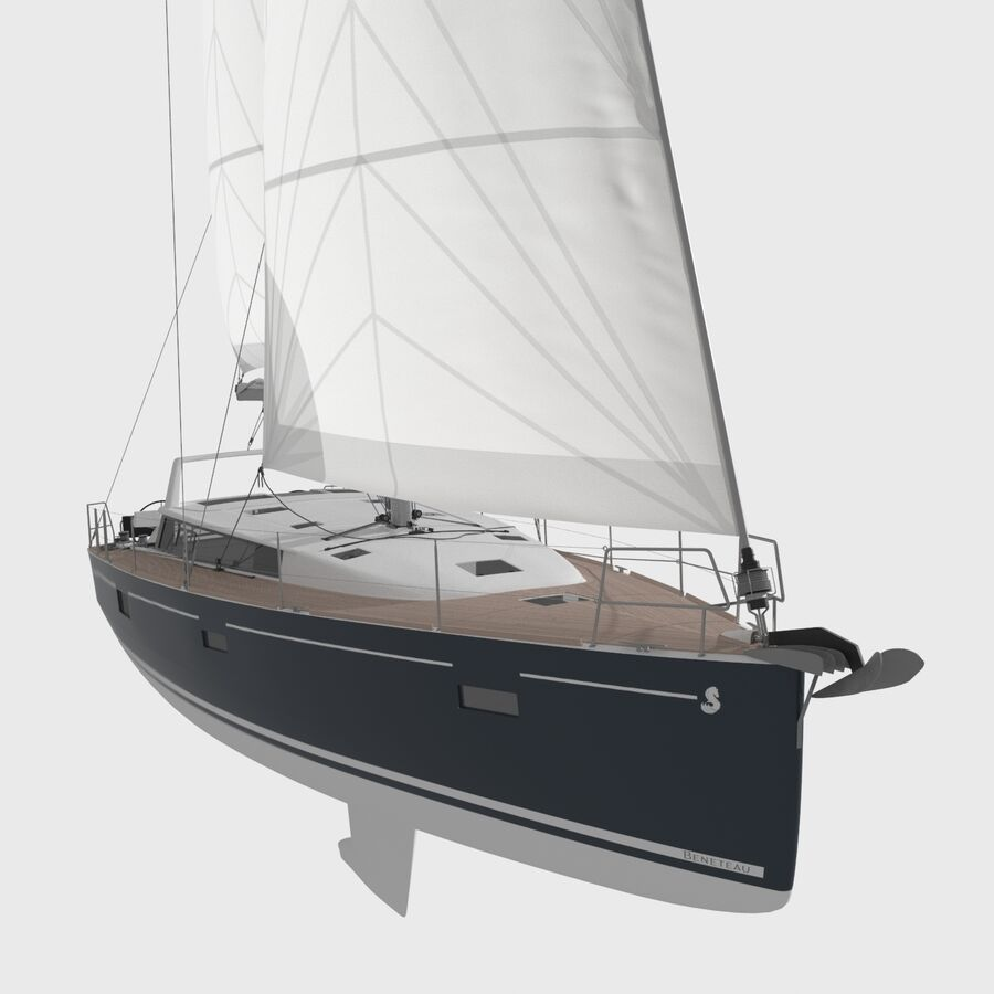 Yelkenli Beneteau Sense 50 yat royalty-free 3d model - Preview no. 5