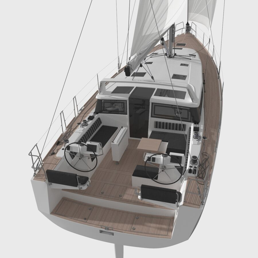 Yelkenli Beneteau Sense 50 yat royalty-free 3d model - Preview no. 4