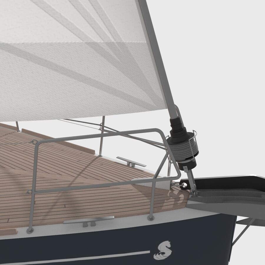 Yelkenli Beneteau Sense 50 yat royalty-free 3d model - Preview no. 6
