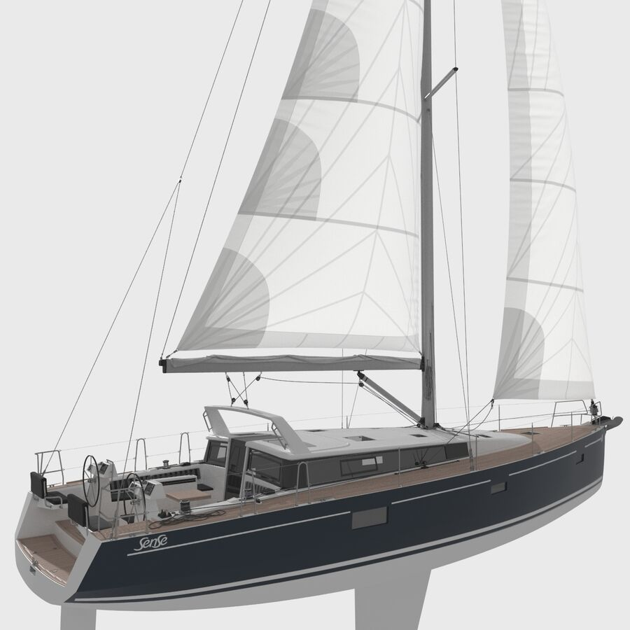 Yelkenli Beneteau Sense 50 yat royalty-free 3d model - Preview no. 3
