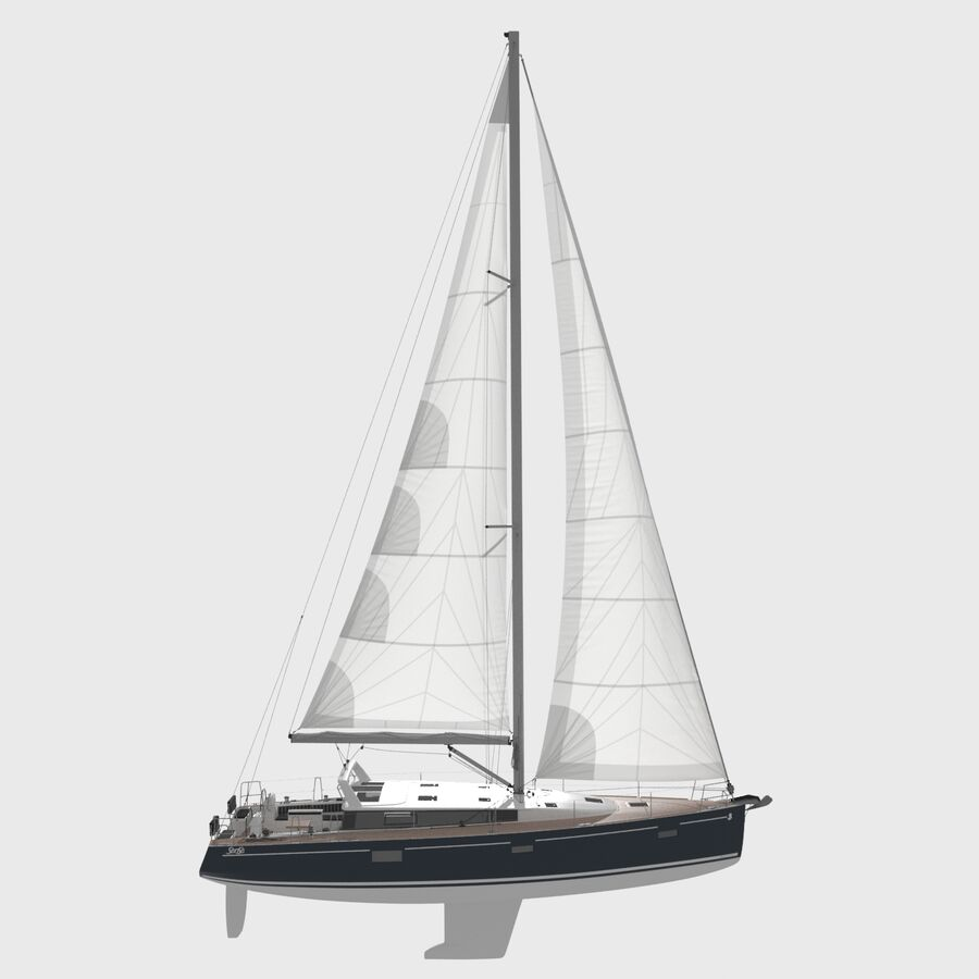 Yelkenli Beneteau Sense 50 yat royalty-free 3d model - Preview no. 2