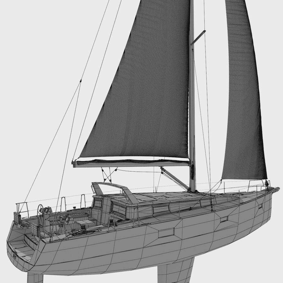 Yelkenli Beneteau Sense 50 yat royalty-free 3d model - Preview no. 12