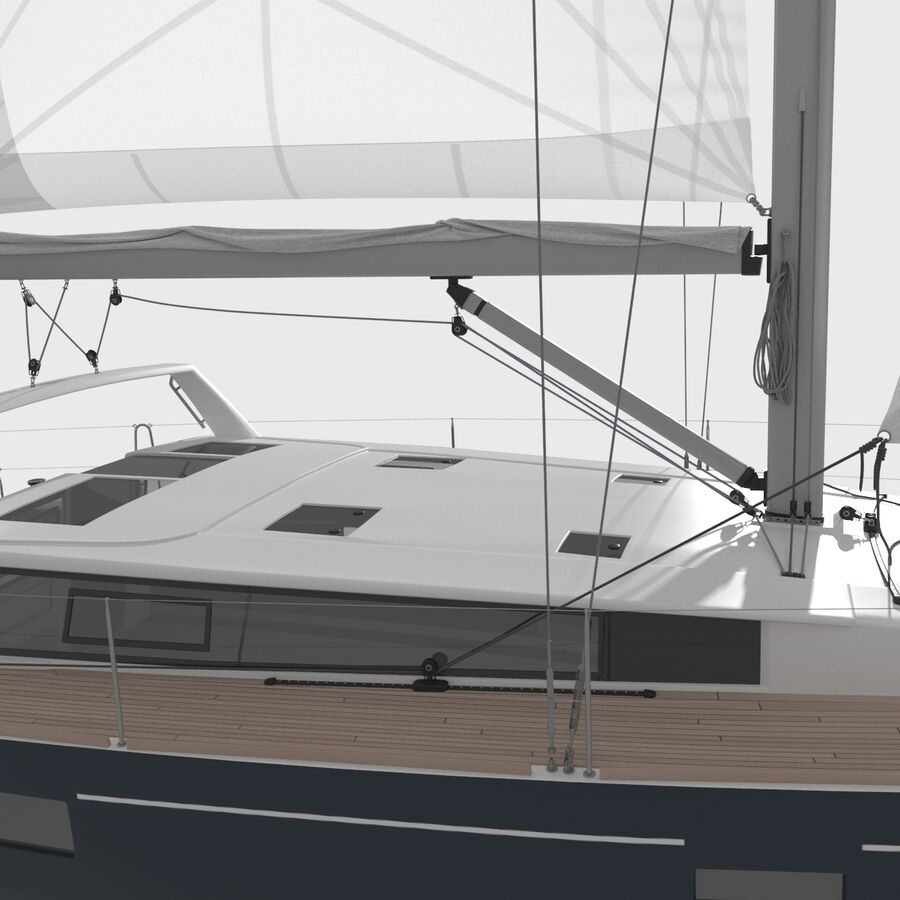 Yelkenli Beneteau Sense 50 yat royalty-free 3d model - Preview no. 10