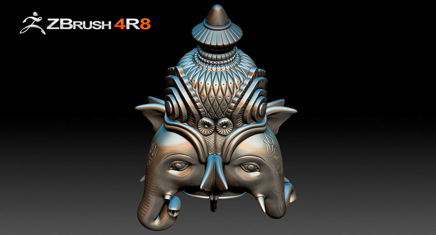 Ganesha Üç Yüz royalty-free 3d model - Preview no. 6