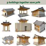 3D Chinese ancient architecture nine in one 3d model