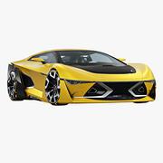 Cupé deportivo futurista modelo 3d