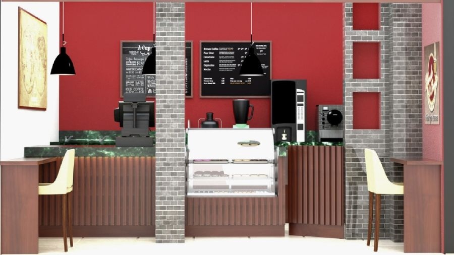 CAFE SHOP royalty-free 3d model - Preview no. 4