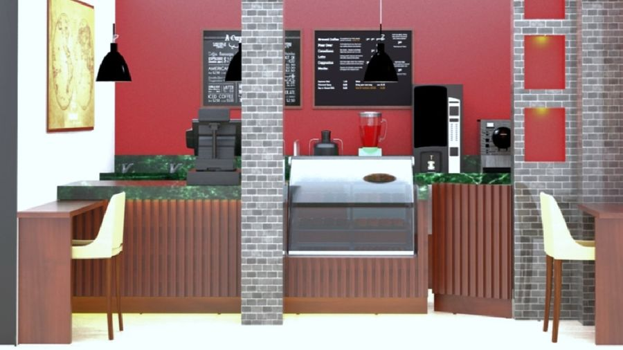 CAFE SHOP royalty-free 3d model - Preview no. 5