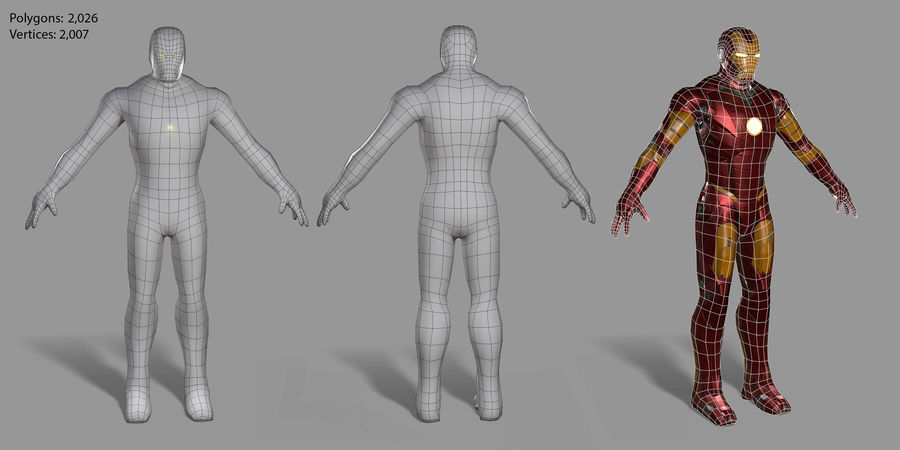 Ironman Hero royalty-free 3d model - Preview no. 25