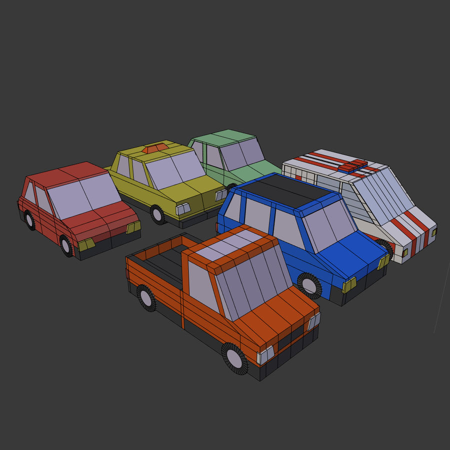 Cartoon cars royalty-free 3d model - Preview no. 6