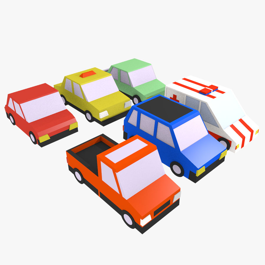Cartoon cars royalty-free 3d model - Preview no. 1