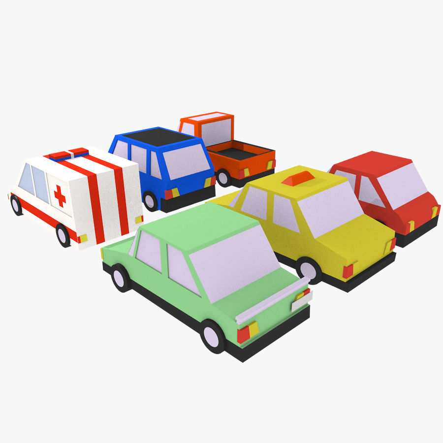 Cartoon cars royalty-free 3d model - Preview no. 2