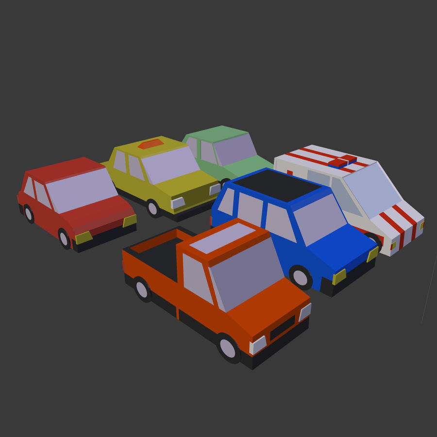 Cartoon cars royalty-free 3d model - Preview no. 5