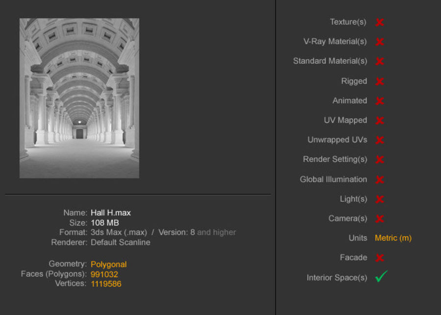 Halle H royalty-free 3d model - Preview no. 22