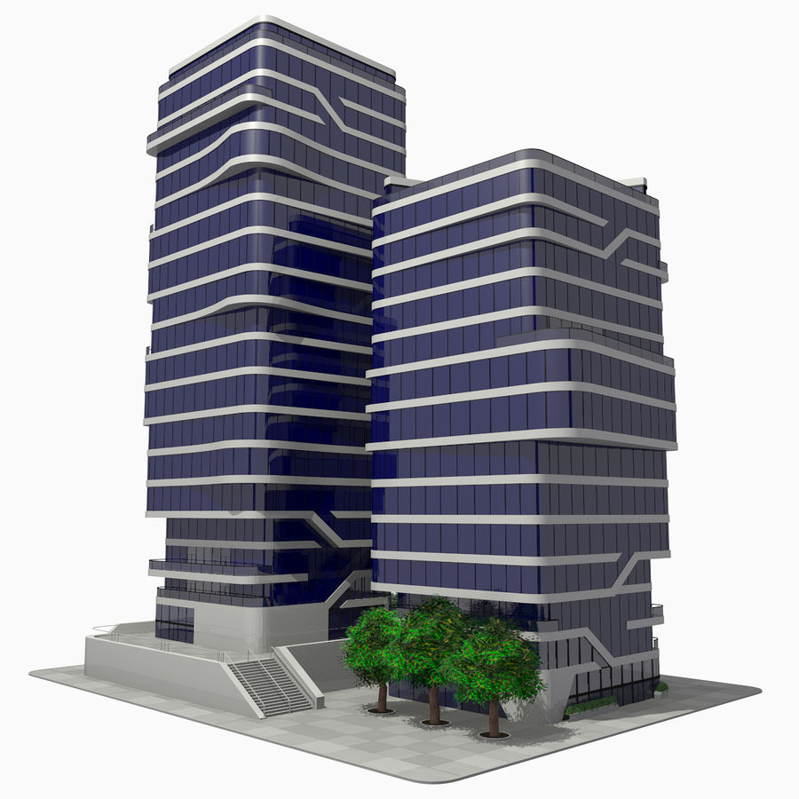 Modern Office City Building Block 1 - Futuristic Architecture royalty-free 3d model - Preview no. 3