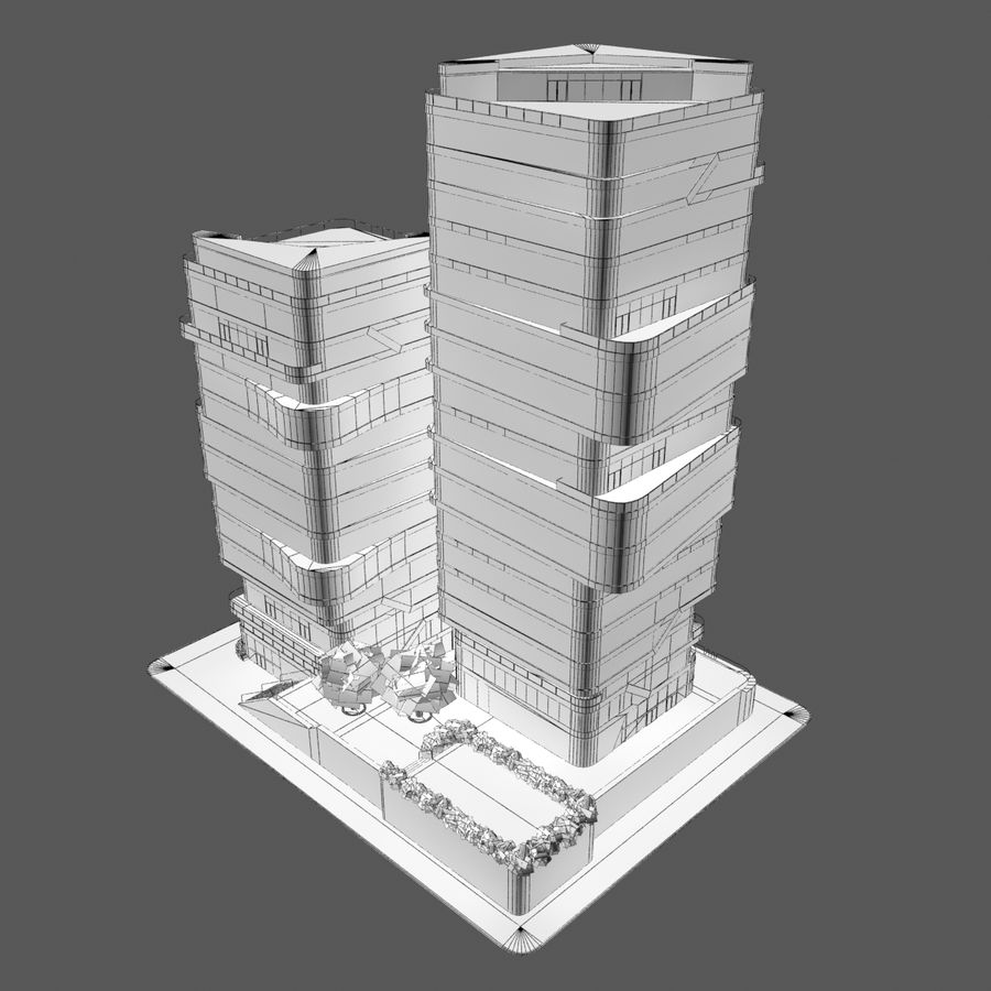 Modern Office City Building Block 1 - Futuristic Architecture royalty-free 3d model - Preview no. 7