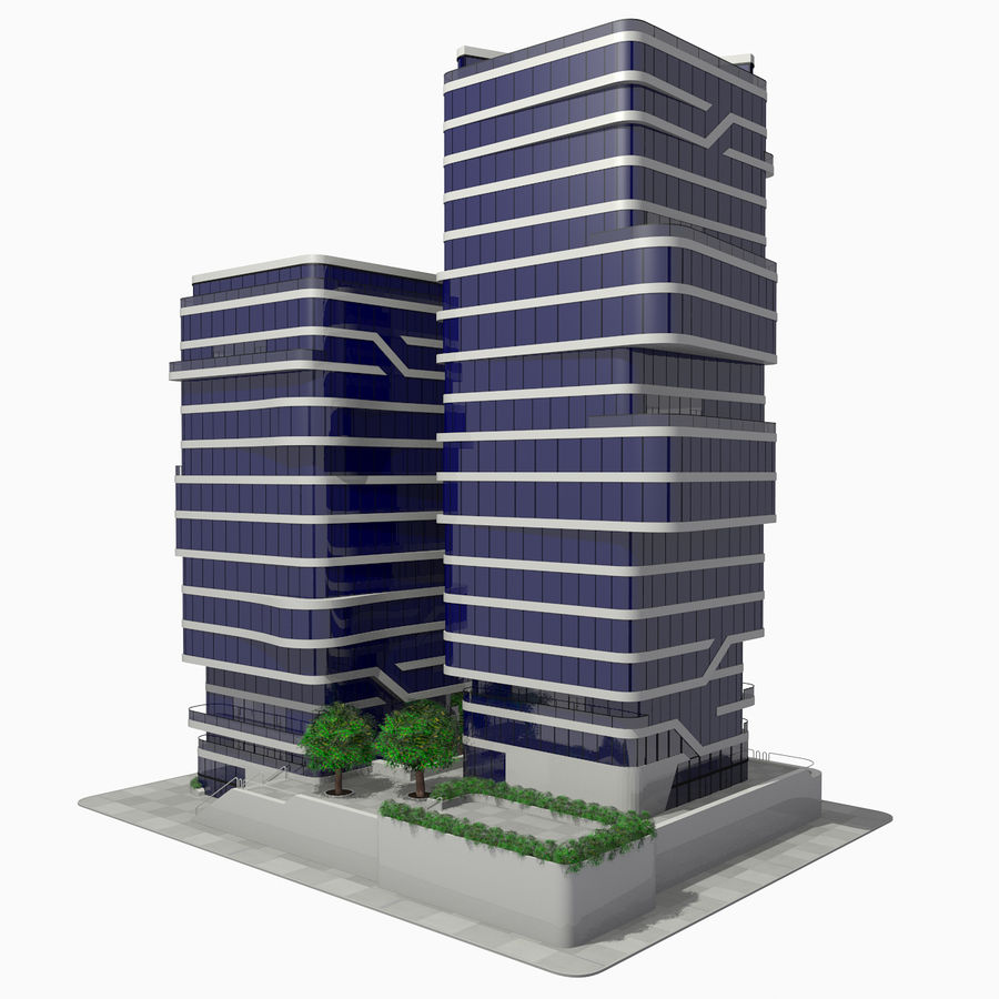 Modern Office City Building Block 1 - Futuristic Architecture royalty-free 3d model - Preview no. 2