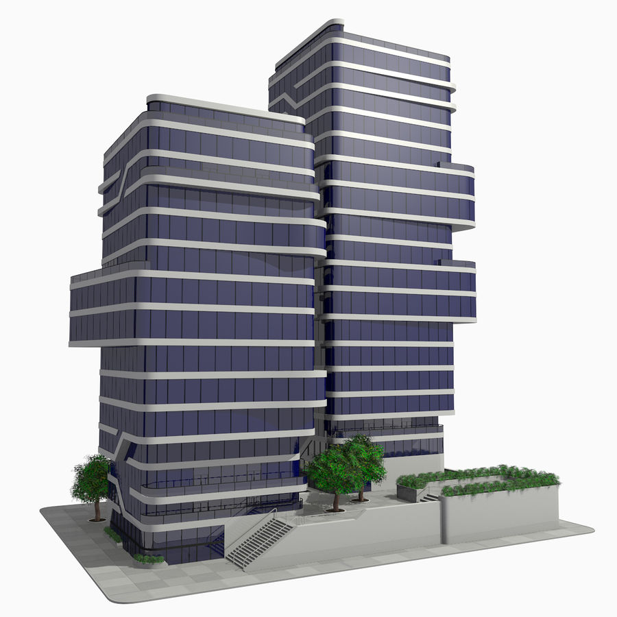 Modern Office City Building Block 1 - Futuristic Architecture royalty-free 3d model - Preview no. 1