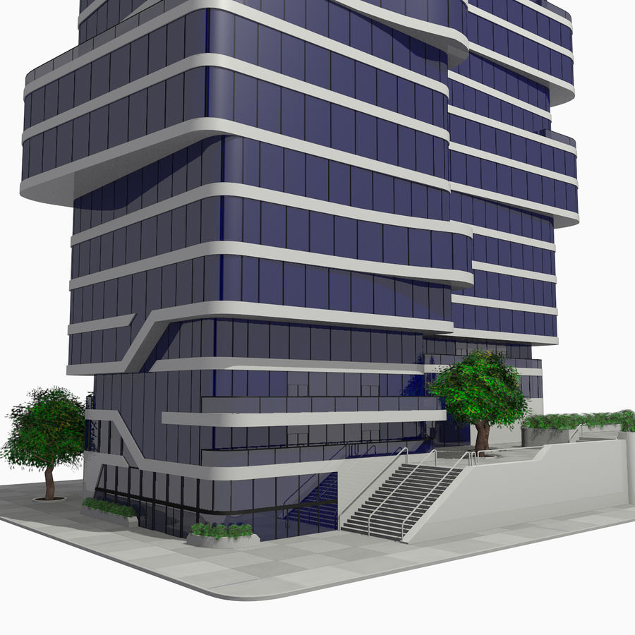Modern Office City Building Block 1 - Futuristic Architecture royalty-free 3d model - Preview no. 5
