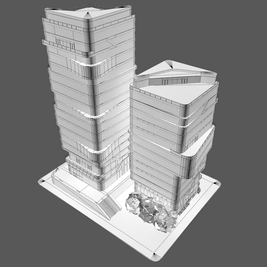 Modern Office City Building Block 1 - Futuristic Architecture royalty-free 3d model - Preview no. 9