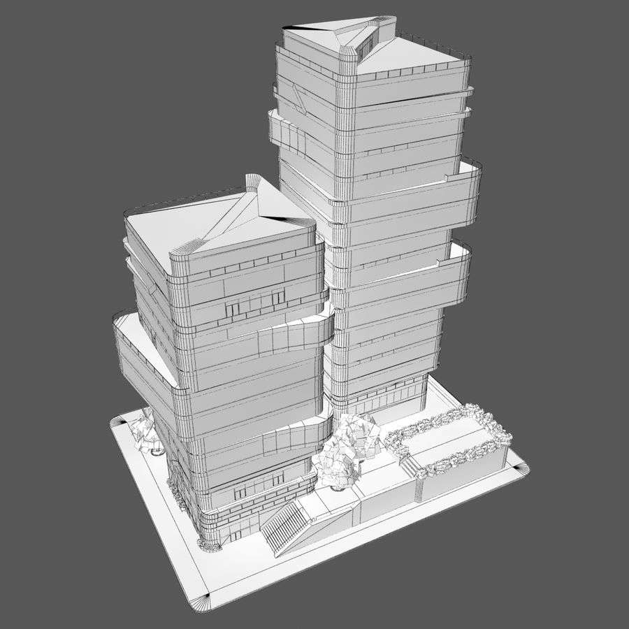 Modern Office City Building Block 1 - Futuristic Architecture royalty-free 3d model - Preview no. 6