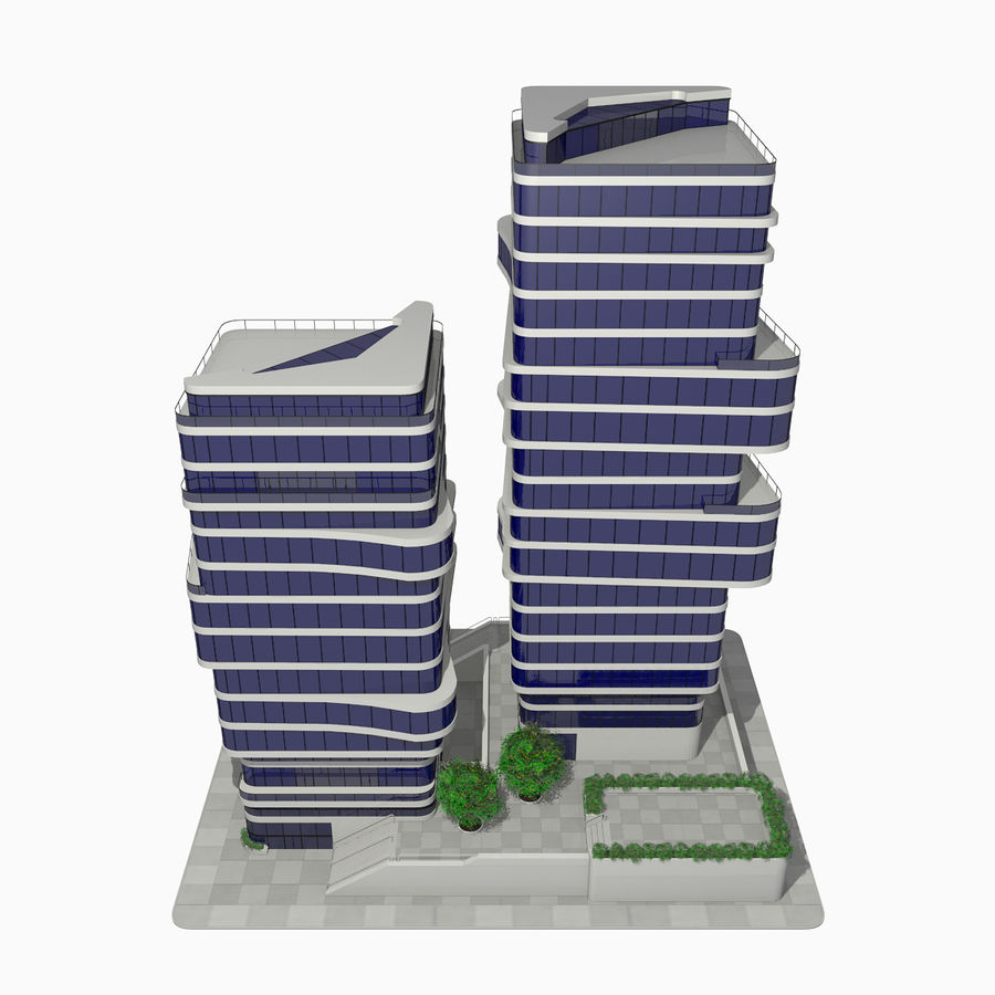 Modern Office City Building Block 1 - Futuristic Architecture royalty-free 3d model - Preview no. 4
