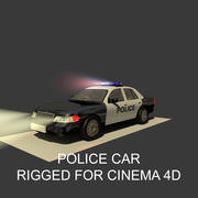 Generic Police Sedan  Car Rigged for Cinema 4D And With Light Interior 3d model
