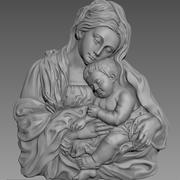 Virgin Mary and Baby Jesus 3D Highly Detailed Bas Relief 3D Printing Model 3d model